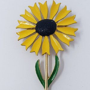 Vintage Yellow Sunflower Daisy Enamel Brooch Pin